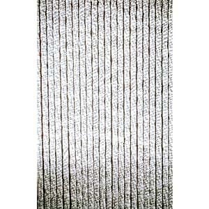 Lesli living rideau de porte chenille gris blanc 90 x 220 for Rideaux cuisine 70 x 90