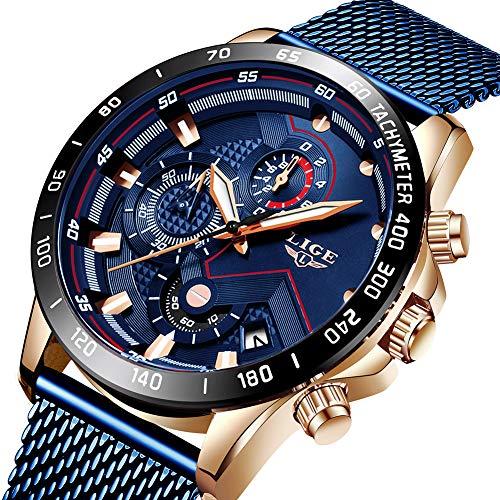 elstahl Mesh Band Chronograph Quarz Uhr Männer Datum Kalender Wasserdicht Multifunktions Armbanduhr ()