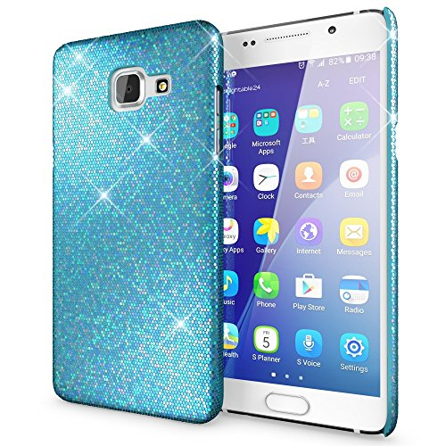 NALIA Custodia Protezione compatibile con Samsung Galaxy A5 2016, Glitter Hardcase Sottile Smartphone Cover Protettiva compatibile con Cellulare, Slim Copertura Rigida Bumper Scintillio - Turchese