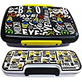 Pawan Plastic Kids Combo Gift Set Of Minion Charos Plus Printed Lock N Fit Lunch Box With 2 Leval Pencil Box For Kids ( Colours May Vary)