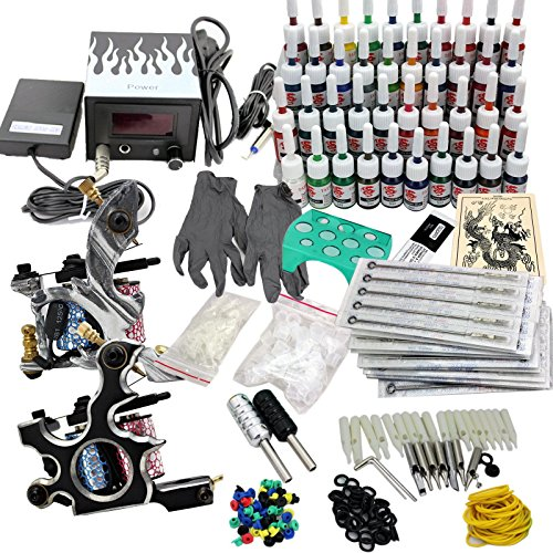 Komplett Tattoomaschine Set, Tätowierung Tattoo Starter Kit, 2 Tätowierung Gun + 40 Farbe Tinte + Netzgerät + 50 Nadeln (Tattoo-tinte Hell-blau)