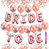 """Pllieay 22 Pieces Rose Gold Hen Party Decorations Include One """"BRIDE TO BE """" Balloons Banner, 6 Pieces Rose Gold Confetti Balloons, 6 Pieces Rose Gold Latex Balloons and 1 Pieces Air Pump for Wedding Bridal Shower Party Supplies"""