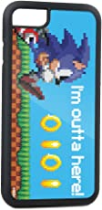 Buckle-Down Cell Phone Case for iPhone 7 Plus/8 Plus - Pixelated Running Pose/Rings I'M Outta Here! Blue - Sega Sonic
