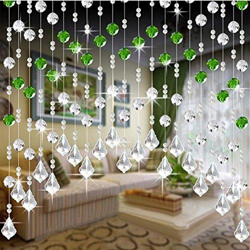 Perlenvorhang,Jaminy 1M Kristallglas Perlen Vorhang Luxus Wohnzimmer Schlafzimmer Fenster Tür Hochzeit Dekor (B) (Diy Perlen-tür-vorhänge)