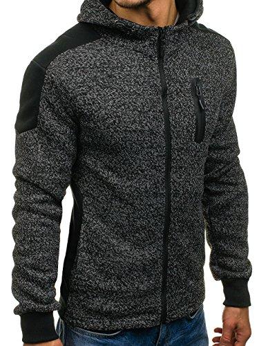 BOLF Herren Sweatshirt mit Kapuze Sweater Kapuzenpullover 1A1 Schwarz_AK44