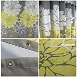 Sfoothome 180cm Wide x 200cm Long Gray Backgroud and Yellow Followers Printed Shower Curtain ,Waterproof Polyester Fabric Shower Curtain Liner ,Midew Resistant Washable Bath Curtain For Bathroom With Anti Rust Grommets , Plastic Curtain Rings And Heavy Weighted Hem