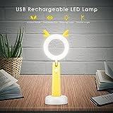 Schreibtischlampe für kinder, PAVLIT LED Augenfreundlich Nachtlicht USB Flexible leselampe dimmbar 3 Helligkeitsstufen für Kinderzimmer(Gelb)
