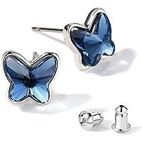 T400 Jewelers Swarovski Crystals Orecchini a farfalla per ragazze adolescenti, 1 paio