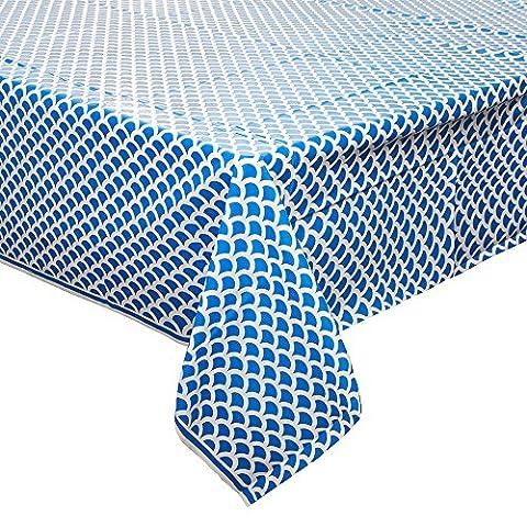 Koralle und Weiß Scallop Print Kunststoff Tischdecke königsblau (Königsblau Tischdecke)