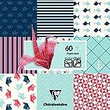 Clairefontaine 95319C Poch 60 feuilles Origami 15x15 Marine Bleu et rouge