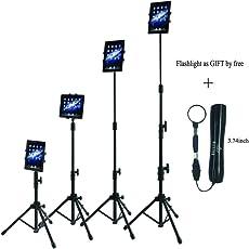 Raking Stativ Tablets Halterung iPad Bodenständer Verstellbare Höhe Stativ für iPad/iPad Air/iPad Mini/Samsung Galaxy Tablet im Bereich von 17,8-25,4 cm (7-10 Zoll), Verstellbare Höhe 25-60 Zoll, mit Tragetasche und Taschenlampe - 4-Section Tripod