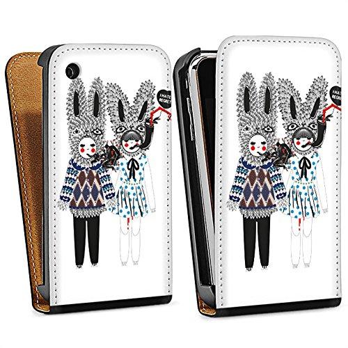 Apple iPhone 5s Housse Étui Protection Coque Lapins Rêve Imagination Sac Downflip noir