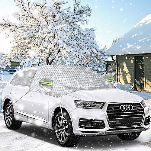Frontscheibenabdeckung Windschutzscheibe, isimsus Autoscheibenabdeckung Frostschutz Frontscheibe Schneeschutz mit Autospiegel Schneeabdeckung & Reflektierte Bänder für die meisten SUV - 245 * 140 cm