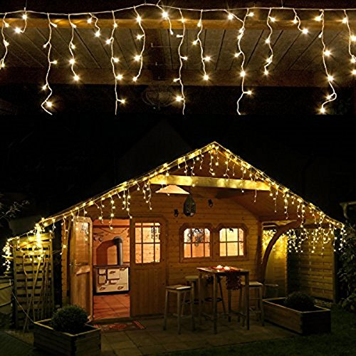 CASCATA LUMINOSA TENDA DI NATALE 192 LED FLASH BIANCO CALDO 510X90 - PROLUNGABILE 15MT