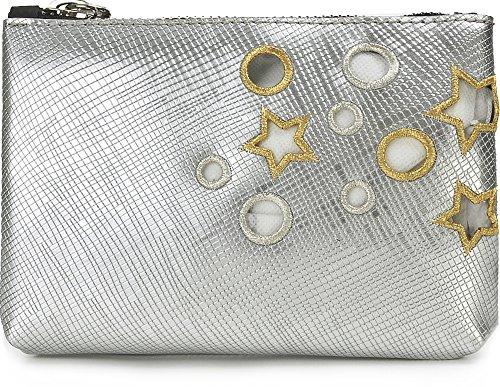 GUM, Damen Handtaschen, Clutches, Handgelenktaschen, Abendtaschen, Unterarmtasche, Silber, 18 x 14 x 5 cm (B x H x T)