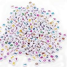 896ec1b34065 ESUMIC Mixed 500 unidades acrílico perlas de plástico letra Alfabeto  Colorido Cubo de espaciador cuentas para