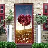 GWELL 3D Türtapete Selbstklebend Wasserdicht PVC 77x200cm Abnehmbar TürPoster Fototapete Türaufkleber Wandbild für Tür, Wohnzimmer, Schlafzimmer, Küche und Bad Herz