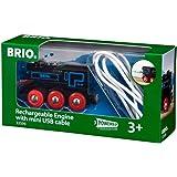 Brio World - 33599 - Locomotive Rechargeable - Train électrique et lumineux avec cable USB - Pour circuit de train en bois -