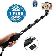 captcha Professional High-End Wireless Bluetooth Monopod Selfie Stick for Mobiles and Cameras (Black, Captcha_YT-1288_1)