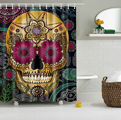 maplehouse Custom diseño de flores calavera resistente al agua cortina de ducha, 180x 180cm cortina de baño resistente al agua tela de poliéster cortina de ducha con 12ganchos de plástico cortina de ducha (71x 71inch