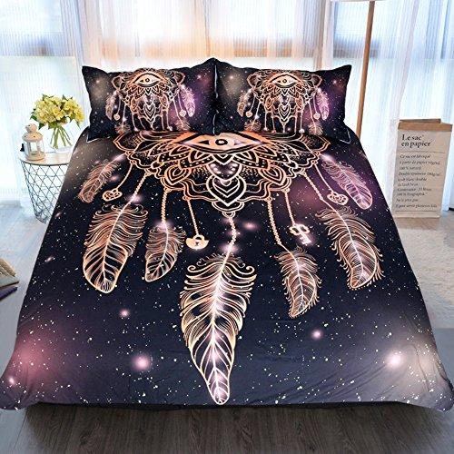 Treeshu Owl Dreamcatcher Betten Tribal Dream Catcher Duvet Cover 3 Stück Faux Gold Glitter Schwarze Bettwäsche,King -