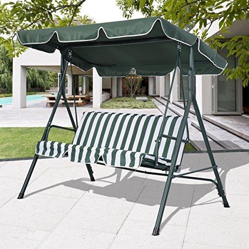 Hollywoodschaukel Schaukel Gartenschaukel Gartenliege Gartenbank 3-Sitzer (Grün) - 3