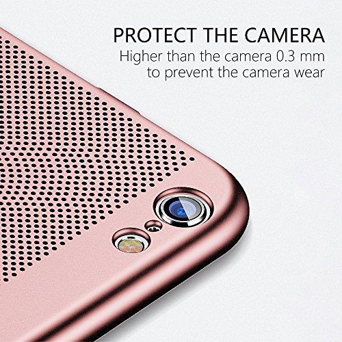 Coque iPhone 6 Ultra Slim PC-Coque iPhone 6s Case HZRICH[Ecran en Verre Trempé Protecteur]Anti-Rayures, Anti-dérapante,Léger[Série respirante]Coque Housse Bumper Cover pour iPhone 6/6s-4.7pouces-Noir Or Rose