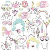 thematys® Cumpleaños de Niña Unicornio Decoración Cuadro de Fotos - Photo Booth Accesorios - Imágenes Divertidas y memorables - 30 Piezas