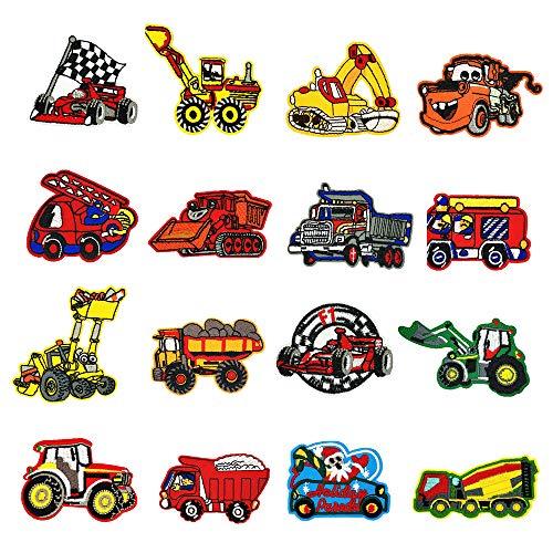 Lakind toppa auto 16-pack toppe termoadesive auto per bambini, adatte a fai da te, jeans, abbigliamento, giacche, zaini, sciarpe. (16-pack)