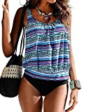 Crazycatz@Women Two Piece Blouson Sporty Tankini Set Floral Swimwear (5XL UK 22, BL 03)