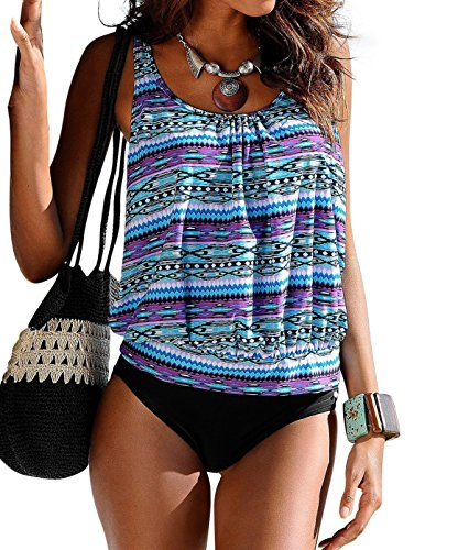 Ecollection@Women Two Piece Blouson Tankini Sets Swimsuit Plus Size (UK 20, BL03)