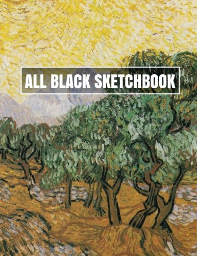 all-black-sketchbook-olive-trees-with-yellow-sky-and-sun-journal-diary-85-x-11-100-pages