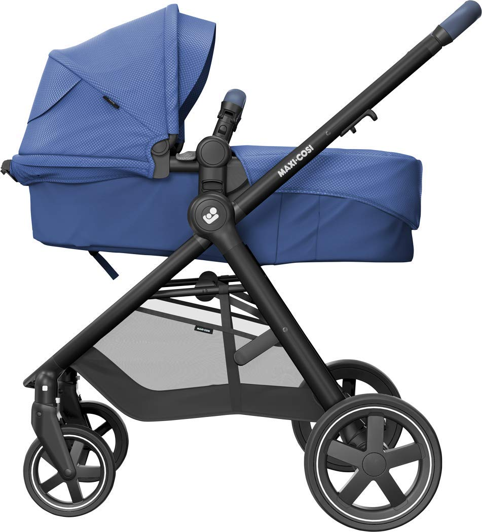 Maxi-Cosi Zelia Baby Pushchair, Lightweight Urban Stroller from Birth, Travel System with Bassinet, 15 kg, Essential Blue Maxi-Cosi Flexible stroller from birth to 3.5 years 2-in-1 seat unit: zelia's seat transforms into a pram bassinet for use from 0 - 12 m in a single movement This city stroller is easy to carry thanks to its lightweight 9