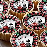 24Kuchen Topper 4cm auf Zuckerguss Cupcake Bilder–ND4Las Vegas Casino Poker-Karten