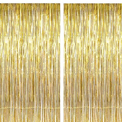 2 Stück 1M*3M Folie Vorhang Metallic Folie Fransen Vorhänge Photo Booth Requisiten für Geburtstag Hochzeit Braut Dusche Baby Shower Bachelorette Weihnachten Party Dekorationen (Gold) (Vorhang Dusche Metallic)
