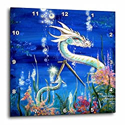 3dRose LLC Dragon Lore White Water Dragon 10 by 10-Inch Wall Clock
