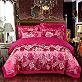 RENYAYA Duvet Cover Sets Luxury Tencel/Cotton Reactive Print 4 PieceBedding Sets (1 Duvet Cover, 1 Flat Sheet, 2 Kissenbezüge)