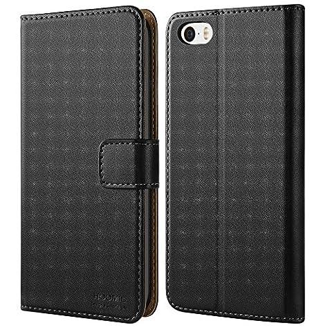 iPhone 5 Hülle,iPhone 5S Hülle,Hoomil Premium Handy Schutzhülle für iPhone 5 / 5S / SE Hülle Leder Wallet Tasche Flip Brieftasche Etui Schale,Schwarz (H3003)
