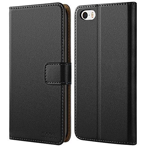 HOOMIL H3003, iPhone 5 Hülle Premium Leder Tasche Handyhülle Flip Case Cover Schutzhülle für Apple iPhone 5S / 5 / SE - Schwarz (Apple Smartphone 5)