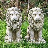 Paire Petite fierté Lions sur mesure Handcast Statue de pierre pilier caches