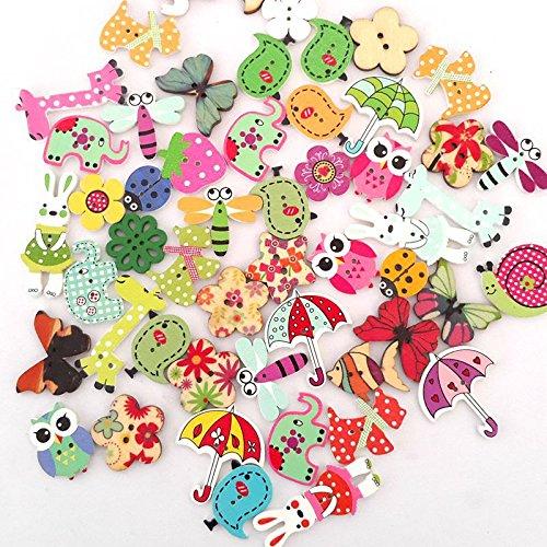 100unidades coloratissimi botones madera manualidades Navidad surtidos para decoración costura Fai Da Te para Navidad Adornos, tarjetas, COMPLEMENTI de objetos Fai Da Te, etc.