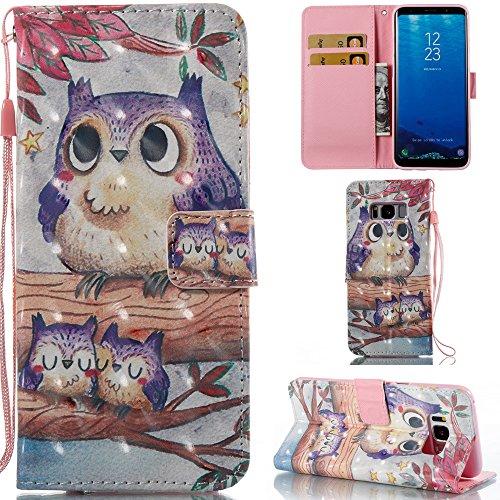 Ooboom® Hülle für Samsung Galaxy S8 Handy Tasche 3D Flip PU Leder Schutzhülle Stand Brieftasche Wallet Case Cover mit Trageschlaufe - Eule Lila