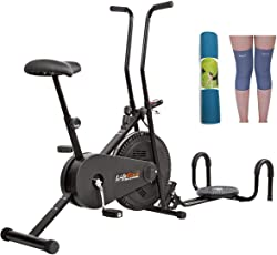 Lifeline Fitness Cycle 102 for Weight Loss at Home Bundles with Twister, Pushup, Yoga Mat (6 MM) and Knee Cap (Four Way Stretch)