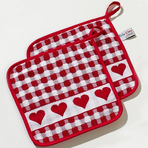 Topflappen Herzenkante, rot, TRIOLINO®, Frottee, 100% Baumwolle, 22x22cm (Topflappen, Geschirrtücher)