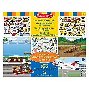 Melissa & Doug- Vehículos Bloc de Autoadhesivos Reutilizables, Multicolor (14199)