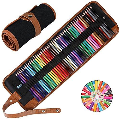 Aquarellstifte Wasserlösliche Stifte 48 Farben Aquarell Bleistift Faltbare mit Roll-up Bleistift...