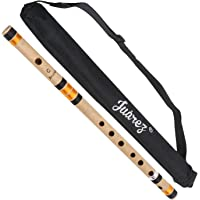 Juarez Bamboo Flute Bansuri 19 inch C# (C Sharp Scale) Bansi, Indian Assamese Premium Bamboo with Case
