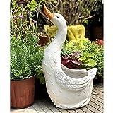 DEG Gartenharz Topf Pflanzer Animal Swan Figur Ornament Weiße Gartenteichdekoration Steinschmuck 42 * 25 * 18cm