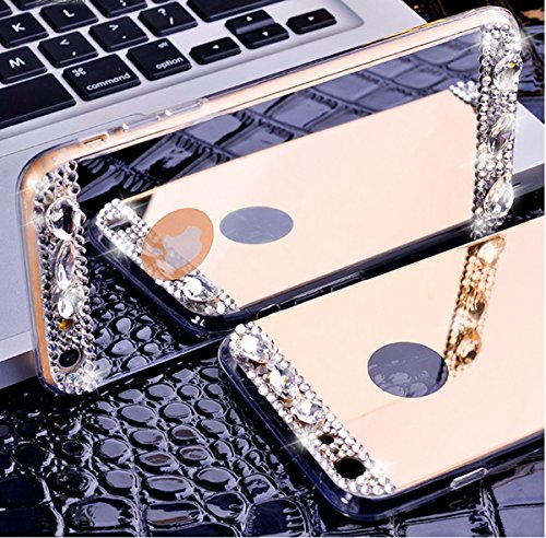 Coque iPhone 6 Plus Miroir, iPhone 6S Plus Coque en Silicone, SainCat Ultra Slim TPU Silicone Case Cover pour iPhone 6/6S Plus, Coque Miroir Bling Glitter Silicone 3D Anti-Scratch Soft Gel Cover Coque Argent