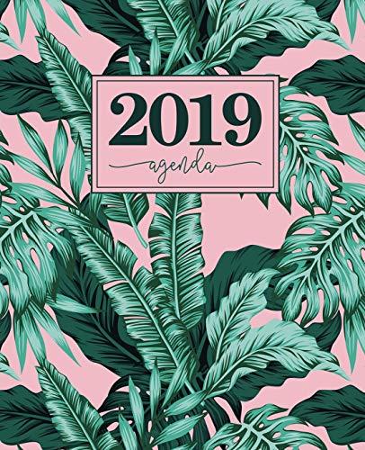 Agenda 2019: 19x23cm : Agenda 2019 semainier : feuilles tropicales roses et vertes 6132 par Papeterie Bleu